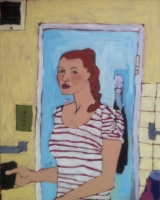Painting Portret in bathroom NYC