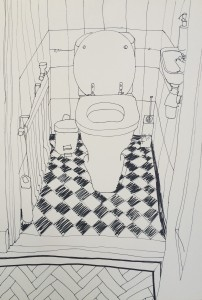 Study WC, ink on paper, 52x36cm.