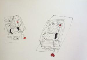Speeldoos, Acrylic and ink on paper, 36x52 cm.