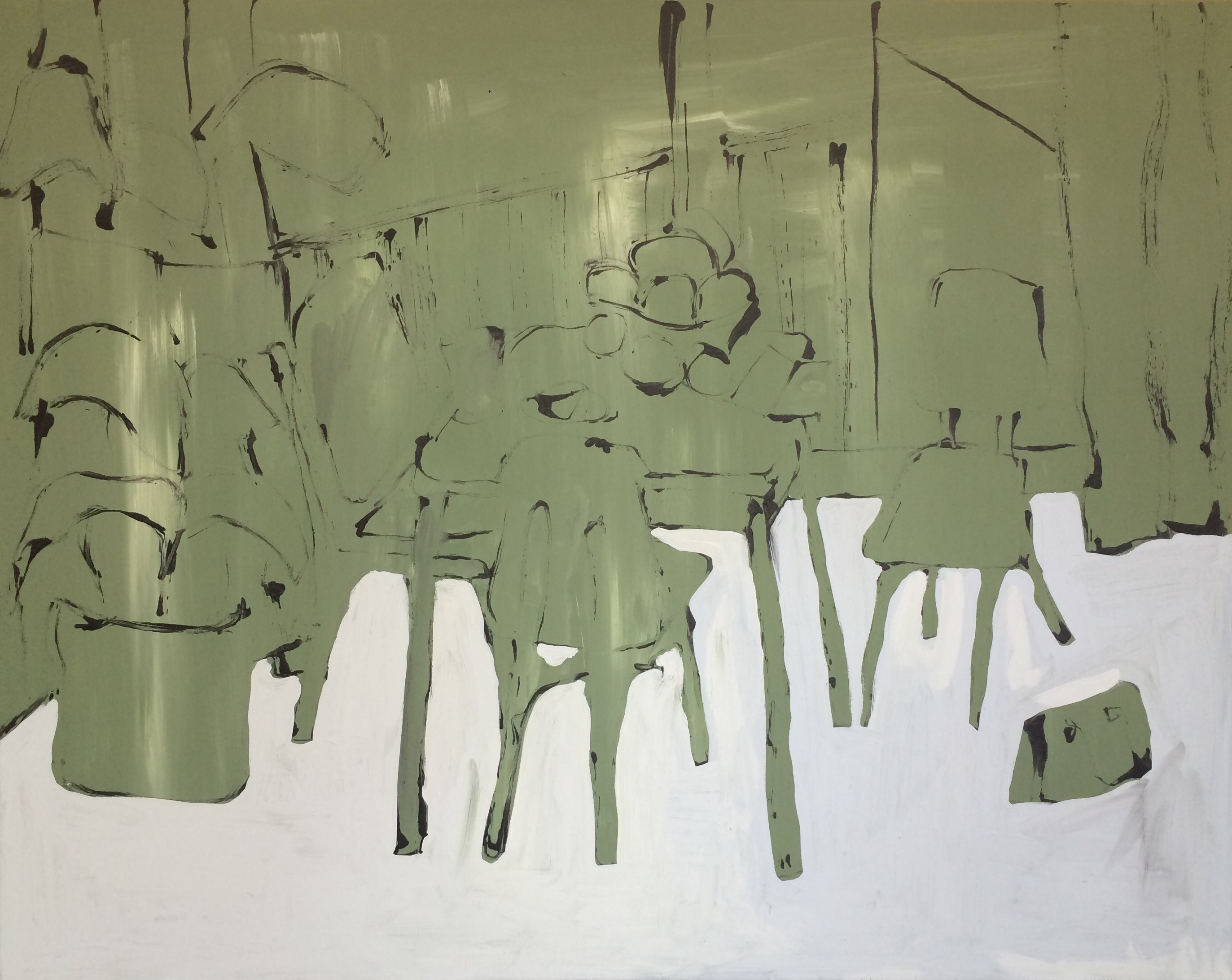 Tafel met fruit #2, Amsterdam. Acryl op canvas, 80x100 cm, € 1450.